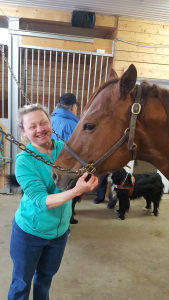 Madame aveugle en train de caresser le menton d'un cheval.